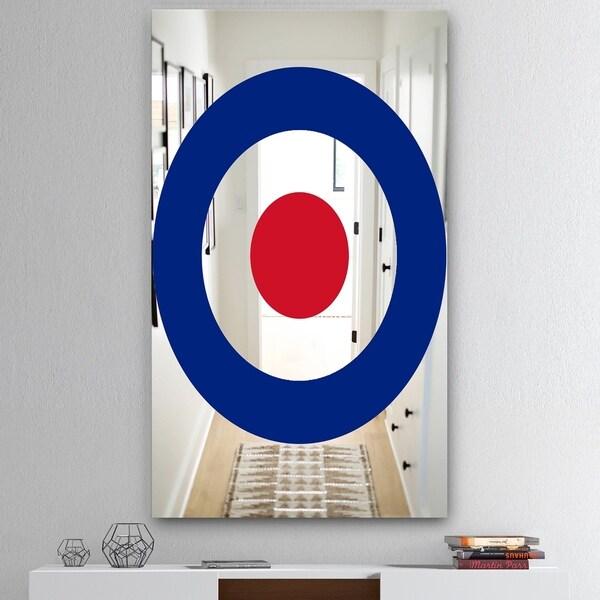Designart 'Red and Blue Bullseye' Mid-Century Mirror - Accent Mirror