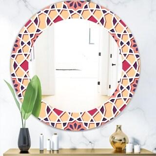 Designart 'Pink Geometric Flower' Mid-Century Mirror - Frameless Oval or Round Wall Mirror - Pink