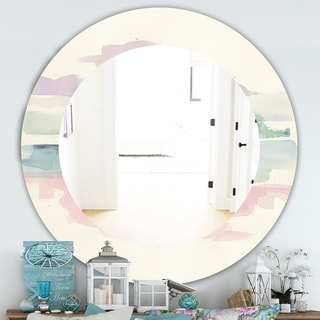Designart 'Pink Lifting Fog' Traditional Mirror - Frameless Oval or Round Wall Mirror