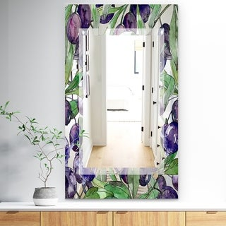 Designart 'Garland Sweet 22' Traditional Mirror - Wall Mirror - Purple