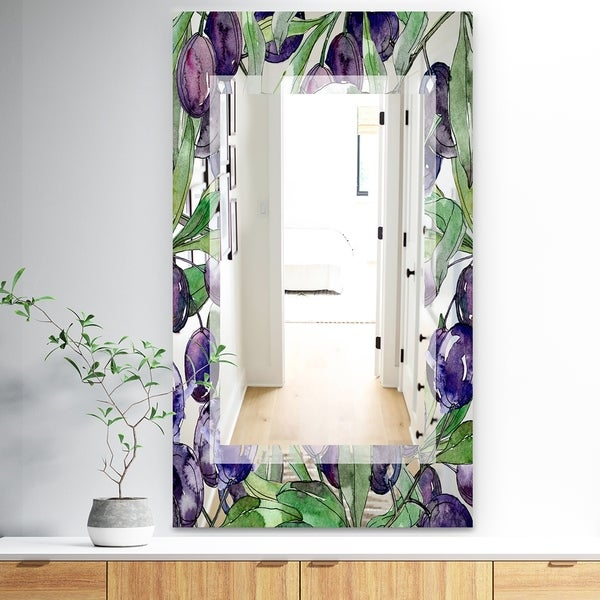 Designart 'Garland Sweet 22' Traditional Mirror - Wall Mirror - Purple