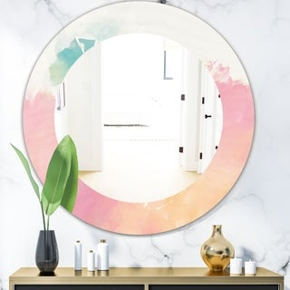 Designart 'Pink Dream' Modern Mirror - Frameless Oval or Round Wall Mirror - Pink
