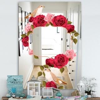 Designart 'Garland Sweet 8' Farmhouse Mirror - Large Wall Mirror - Red