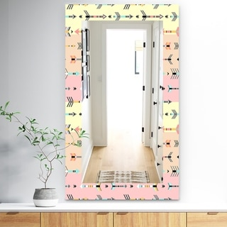 Designart 'Pink Spheres 1' Bohemian and Eclectic Mirror - Frameless Modern Wall Mirror - Pink
