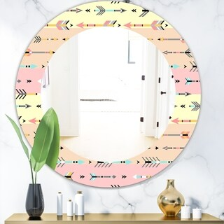 Designart 'Pink Spheres 1' Bohemian and Eclectic Mirror - Frameless Oval or Round Wall Mirror - Pink