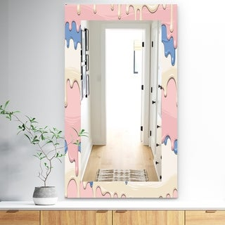 Designart 'Pink Spheres 10' Bohemian and Eclectic Mirror - Frameless Modern Wall Mirror - Blue