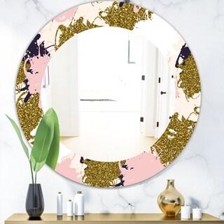 Designart 'Pink Spheres 11' Modern Mirror - Frameless Oval or Round Wall Mirror - Pink