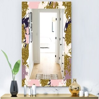 Designart 'Pink Spheres 11' Modern Mirror - Frameless Wall Mirror - Pink