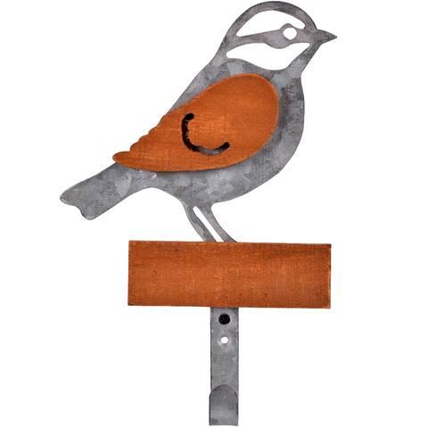 Metal and Wood Bird Wall Hook