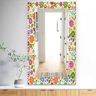 Designart 'Retro Flower Pattern' Bohemian and Eclectic Mirror - Frameless Modern Wall Mirror - Green
