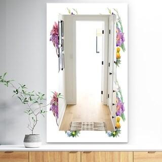 Designart 'Pink Blossom 7' Traditional Mirror - Frameless Vanity Mirror - White