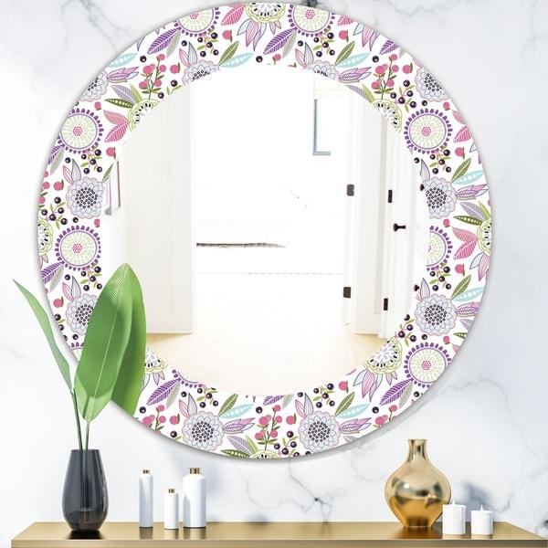 Porch & Den Daren Pink Blossom Frameless Mirror - Purple