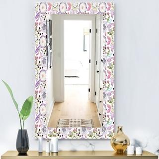 Designart 'Pink Blossom 9' Modern Mirror - Frameless Wall Mirror - Purple