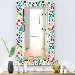 Designart 'Retro Abstract Geometric Pattern' Modern Mirror - Frameless Wall Mirror - Blue
