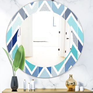 Porch & Den Del Rio Blue Dotted Geometric Pattern Frameless Mirror