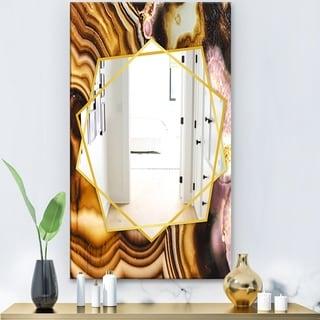 Designart 'Pink Brown Turritella Agate Pattern' Modern Mirror - Frameless Contemporary Wall Mirror - Gold