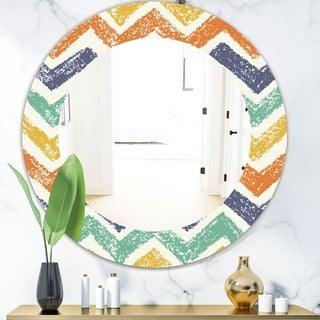 Designart 'Retro Chevron In Orange Blue and Yellow' Bohemian and Eclectic Mirror - Frameless Oval or Round Wall Mirror