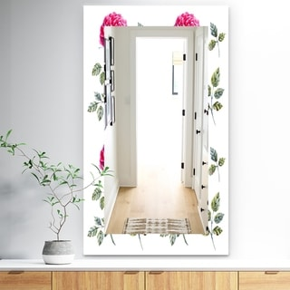 Designart 'Pink Blossom 8' Traditional Mirror - Frameless Wall Mirror - White