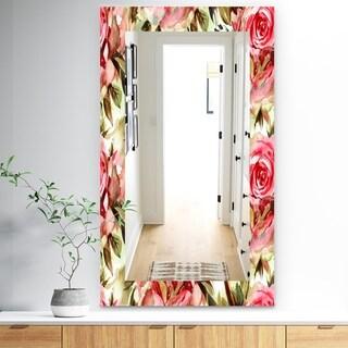 Designart 'Pink Blossom 58' Traditional Mirror - Frameless Wall Mirror - Red