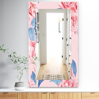 Designart 'Pink Blossom 59' Traditional Mirror - Frameless Wall Mirror - Pink