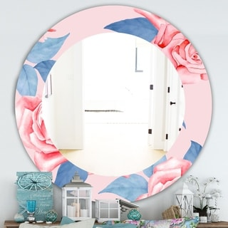 Designart 'Pink Blossom 59' Traditional Mirror - Frameless Oval or Round Wall Mirror - Pink
