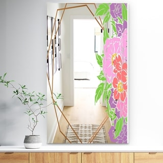 Designart 'Efflorescent Gold Simple 4' Traditional Mirror - Wall Mirror - Pink