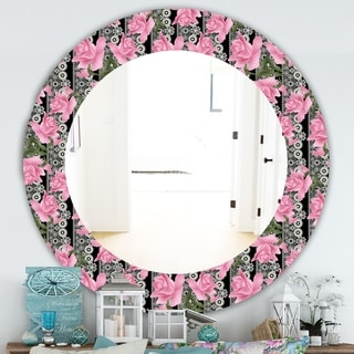 Designart 'Pink Blossom 6' Traditional Mirror - Frameless Oval or Round Wall Mirror - Pink