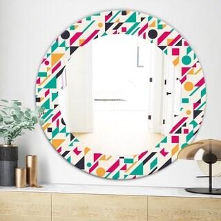 Designart Retro Abstract Geometric Pattern Modern Mirror Frameless Oval Or Round Wall Mirror Blue 24 In Wide X 24 In High Sportspyder