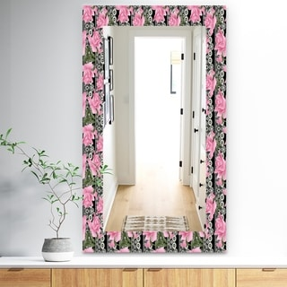 Designart 'Pink Blossom 6' Traditional Mirror - Frameless Wall Mirror - Pink
