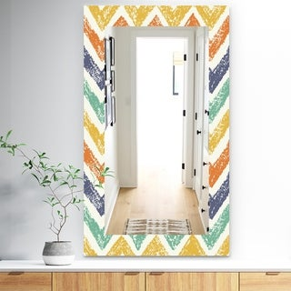 Designart 'Retro Chevron In Orange Blue and Yellow' Bohemian and Eclectic Mirror - Frameless Modern Wall Mirror