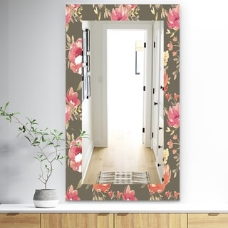 Designart 'Pink Blossom 57' Traditional Mirror - Frameless Wall Mirror - Pink