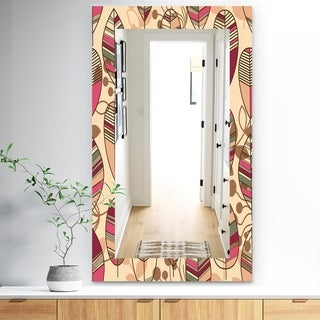Designart 'Retro Autum Flowers' Bohemian and Eclectic Mirror - Frameless Modern Wall Mirror - Brown