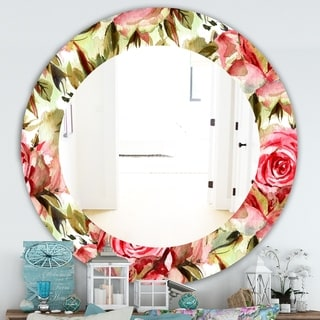 Designart 'Pink Blossom 58' Traditional Mirror - Frameless Oval or Round Wall Mirror