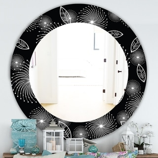 Designart 'Retro Of Stylized Flowers' Traditional Mirror - Frameless Oval or Round Wall Mirror - Black