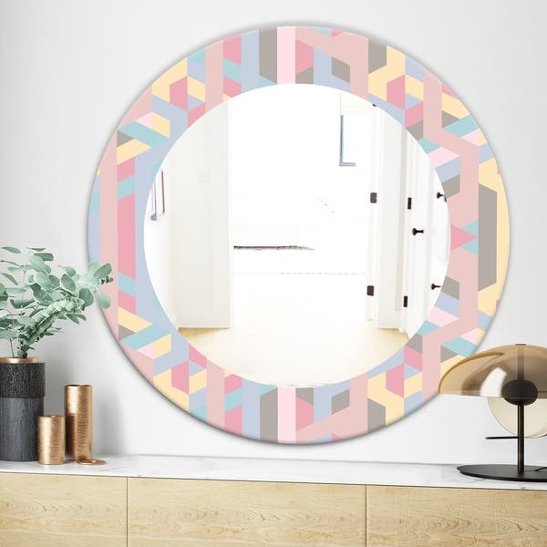 Designart Pastel Dreams 6 Modern Mirror Frameless Oval Or Round Wall Mirror Pink Overstock 28004699