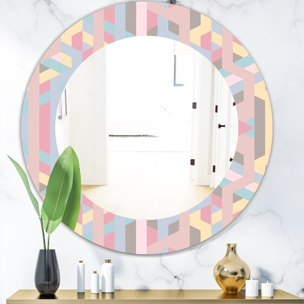 Designart 'Pastel Dreams 6' Modern Mirror - Frameless Oval or Round Wall Mirror - Pink