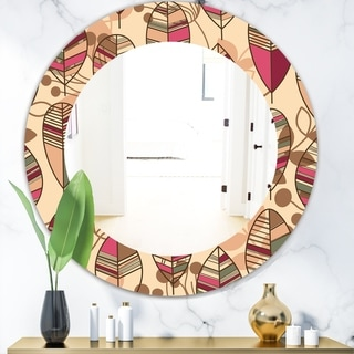 Designart 'Retro Autum Flowers' Bohemian and Eclectic Mirror - Frameless Oval or Round Wall Mirror - Brown