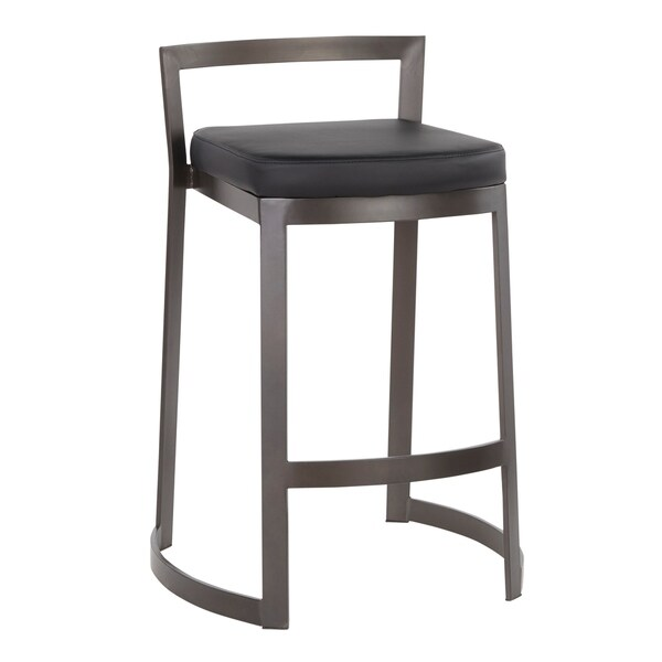Fuji DLX Metal and Faux Leather Counter Stools (Set of 2)
