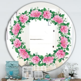 Designart 'Romantic Floral Wreath' Cabin and Lodge Mirror - Oval or Round Wall Mirror - Pink