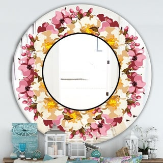 Designart 'Beige and Purple Flowers' Cabin and Lodge Mirror - Oval or Round Wall Mirror - Pink