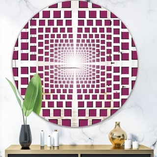 Designart 'Purple Vortex' Modern Mirror - Contemporary Oval or Round Wall Mirror - Purple