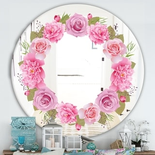 Designart 'Baby Pink Flowers' Cabin and Lodge Mirror - Oval or Round Wall Mirror