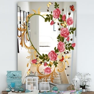 Designart 'Rose Flower Heart' Cabin and Lodge Mirror - Large Wall Mirror - Multi