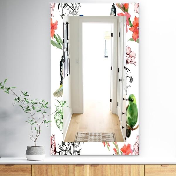 Designart 'Pink Blossom 56' Traditional Mirror - Frameless Wall Mirror - Green