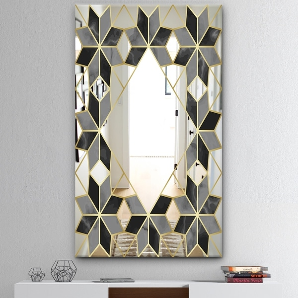 Designart 'Triangular Diamond Universe 2' Mid-Century Mirror - Wall Mirror - Black