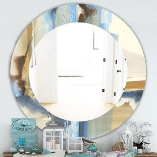 Designart 'River Run II' Traditional Mirror - Frameless Oval or Round Wall Mirror - Multi