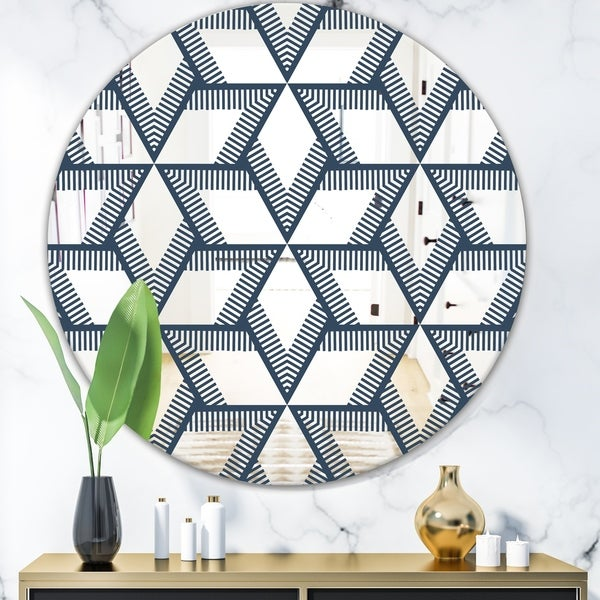 Designart 'Rhombus Pattern' Mid-Century Mirror - Oval or Round Wall Mirror - Blue