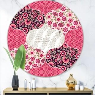 Designart 'Pink Patchwork' Mid-Century Mirror - Oval or Round Wall Mirror - Pink