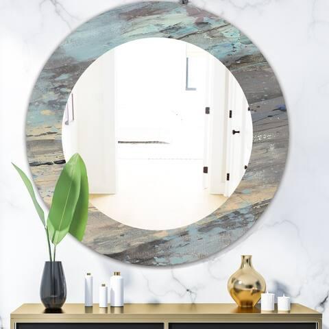 Designart 'Rock Teal Panel I' Modern Mirror - Oval or Round Wall Mirror - Blue