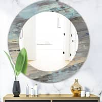 Designart 'Rock Teal Panel I' Modern Mirror - Oval or Round Wall Mirror - Blue